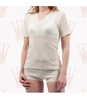 T-shirt femme laine et soie manches courtes en V