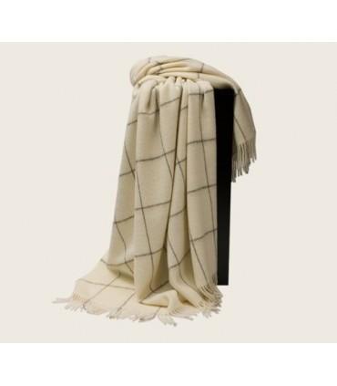 Plaid en pure laine vierge scandinave écru carré
