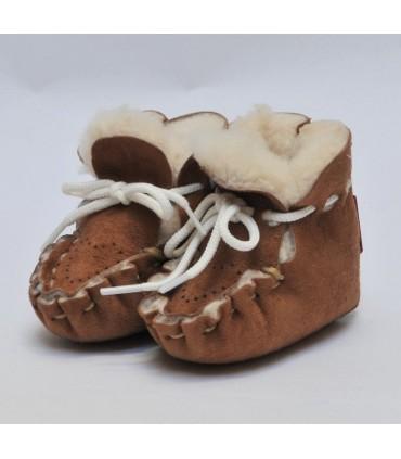 Chaussons de bébés peau d'agneau véritable