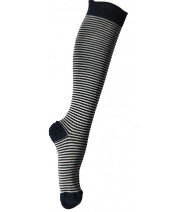 Chaussettes homme hautes laine très fines rayées kaki ou marine
