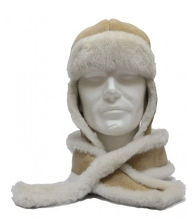 Ensemble écharpe et chapka en peau de mouton beige sable