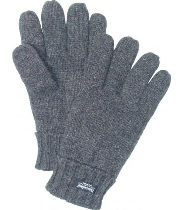 gants gris en pure laine shetland