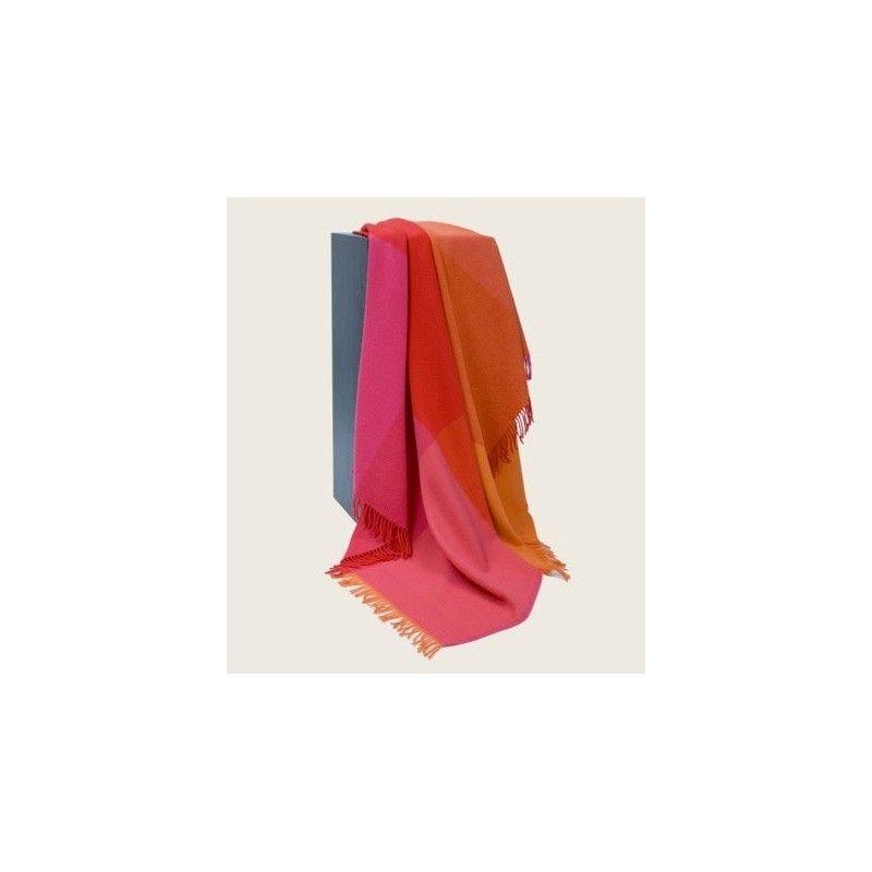 Plaid en pure laine mérinos orange fushia 5020. Loading zoom 52e7ba513ab