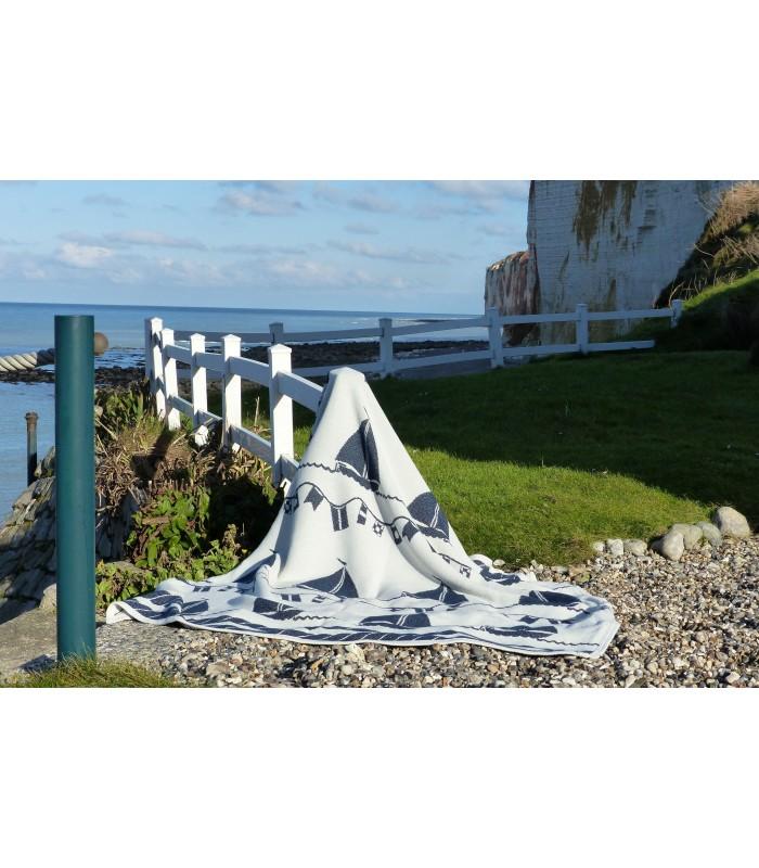 plaid pure coton luxueux jet de fauteuil motifs mer et bateau. Black Bedroom Furniture Sets. Home Design Ideas