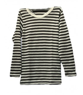 clidrens' Shirt striped in Wool and Silk long sleeves
