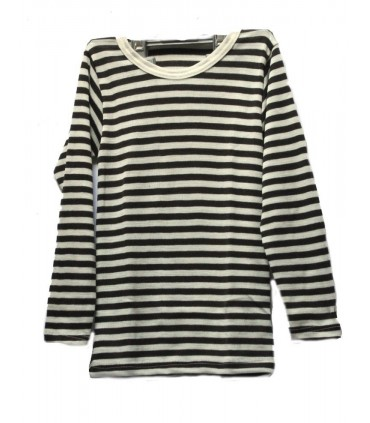 childrens' Shirt striped in Wool and Silk long sleeves
