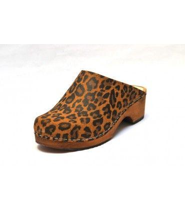 Sabots suédois cuir léopard Mogambo
