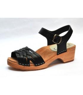 Sandales suédoises basses en bois et cuir tresse noir