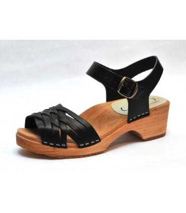 Sandales suédoises basses en bois et cuir vegetal tresse