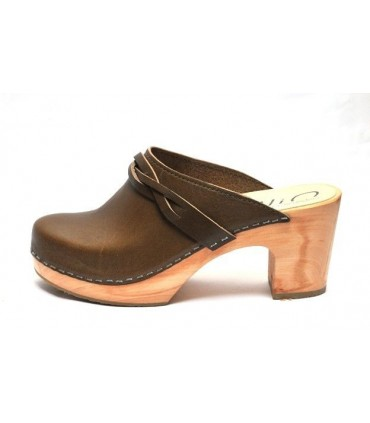 Women heels high wooden Swedish clogs and leather