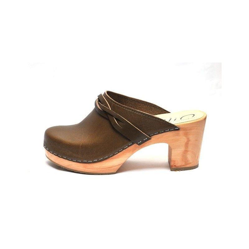 Sueco de madera de piel de mujer Zuecos tacón alto 8 cm e63f70ccda6