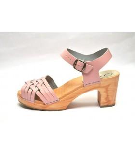 Sandales suédoises femme en cuir tressé et talon haut bois rose ou beige