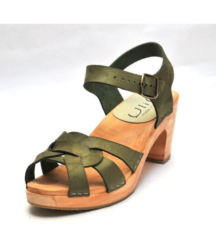 Women high heels Swedish wooden Sandals in kaki leather