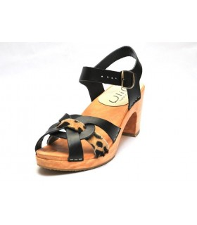 Women Swedish wooden high Sandals in leather black leopard