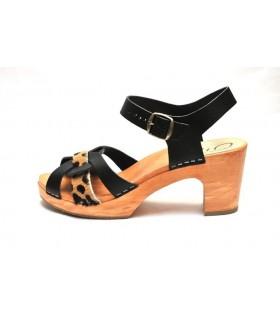 Sandales suédoises femme hautes en bois et cuir noir leopard