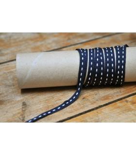 Ruban gros grain bleu marine brogé blanc