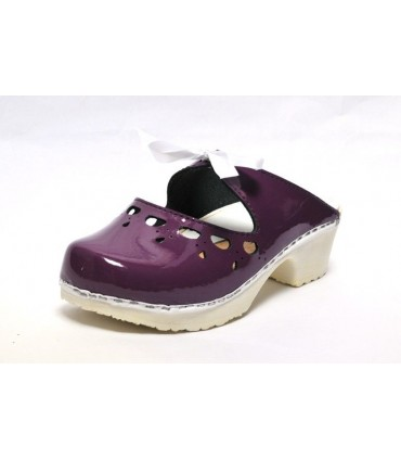 women Swedish leather clogs - Ribbon and lace