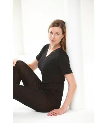 T-shirt femme col V laine et soie manches courtes