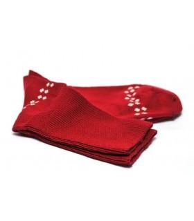 Chaussettes homme laine mérinos 90% fines non comprimantes jacquard rouge