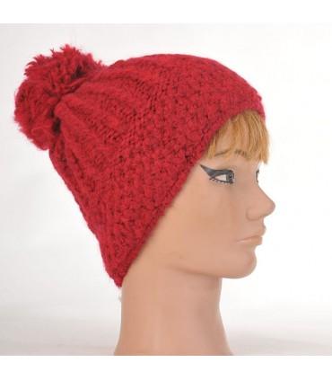Bonnet laine mohair et pompon