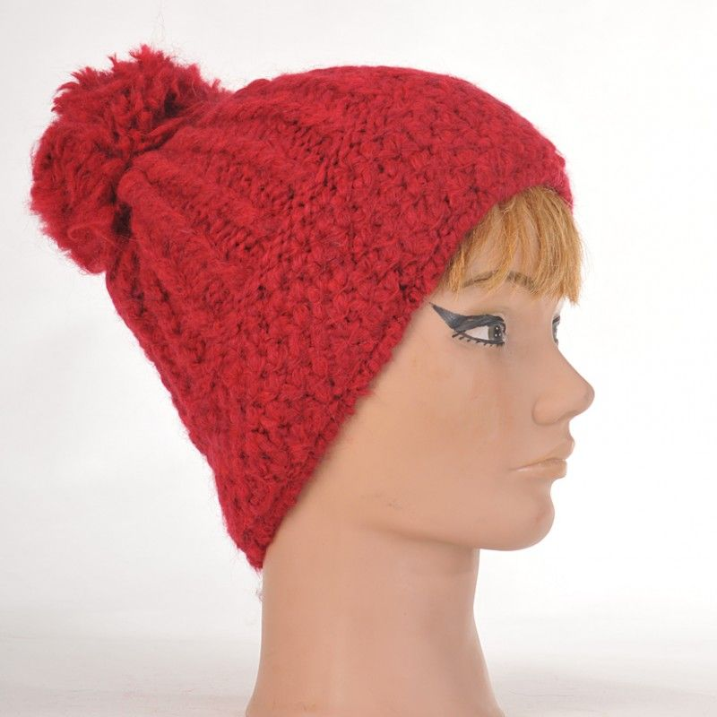 Knitting Pattern For Mohair Beanie : Knit beanies women and men wool mohair with pompom