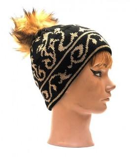 Damen Mütze jacquard gold und silber
