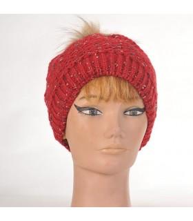 Bonnet femme en laine et pompon fourrure rouge