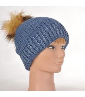 Bonnet femme laine chinée et pompon bleu