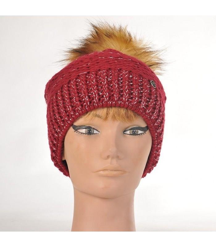 Women's knit beanies Racoon Pompom