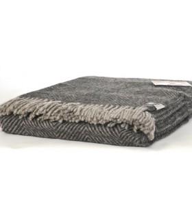 Plaid en pure laine vierge scandinave chevron gris