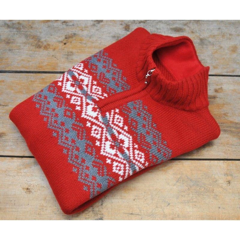 pull norv gien laine jaquard rouge chaud et doux. Black Bedroom Furniture Sets. Home Design Ideas