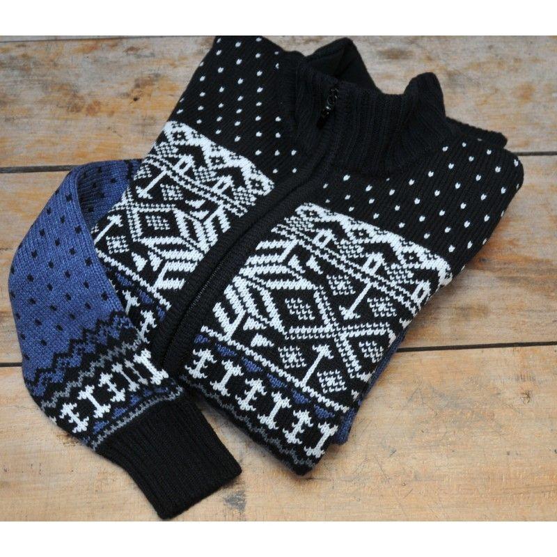 Assez Gilet femme épais laine motifs jaquard norvégien bleus FP68