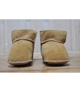Chaussons bottes bébés enfants peau d'agneau retournée beige