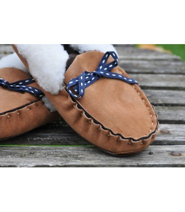 Women's nordic slippers moccasin in guenuine lambskin