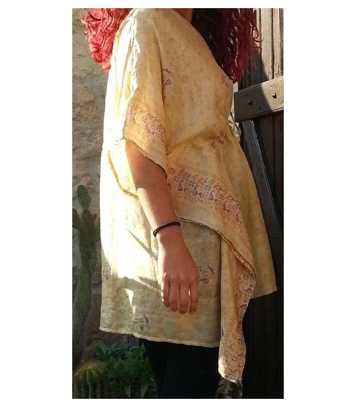 Tunique en soie femme beige
