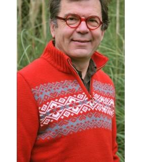 Pull laine jacquard nordique rouge