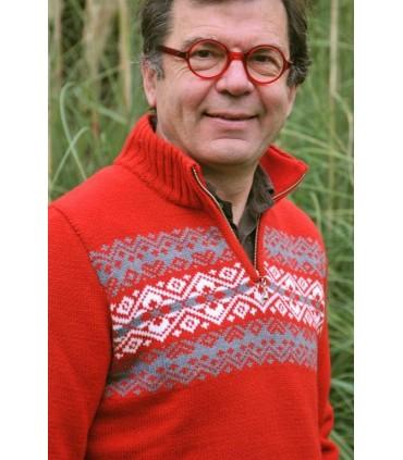 Pull norvégien en laine jacquard rouge