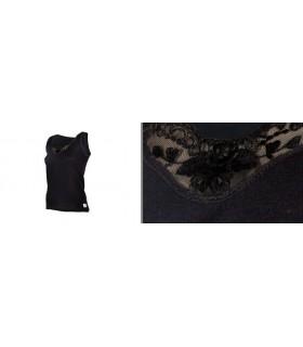 Débardeur dentelle femme laine mérinos noir