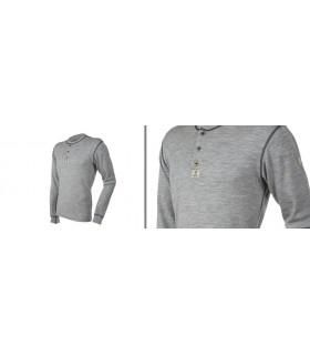 Maillot homme en laine mérinos gris avec boutons