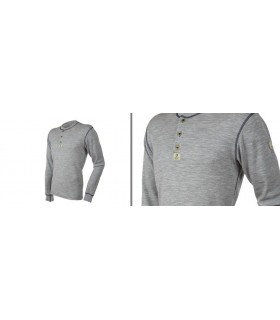 long sleeves 100% merino wool men Zip Polo