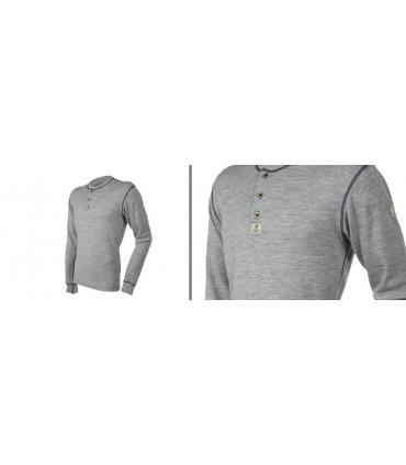 Maillot HENLEY homme avec boutons en pure laine mérinos gris S et XL