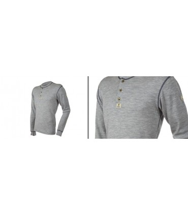 Men Henley Shirt pure merino wool men with buttons