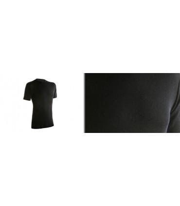 maillot manches courtes tee shirt noir homme en pure laine mérinos
