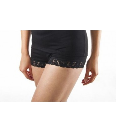 Boxer shorty women wool and silk - black and hot