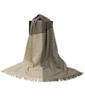 Plaid en pure laine vierge scandinave carreaux bege ecru gris