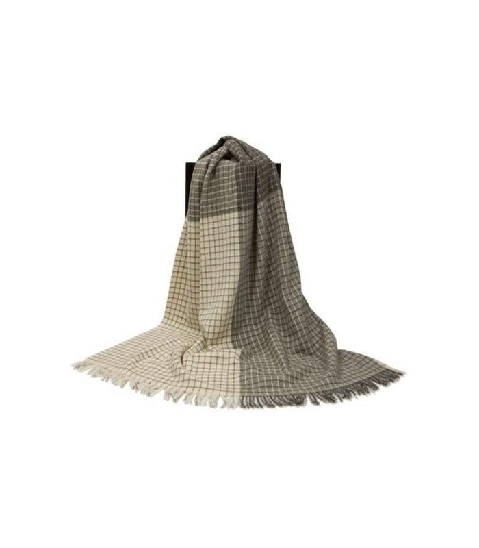 plaid gris cru beige petits carreaux sans colorants laine. Black Bedroom Furniture Sets. Home Design Ideas