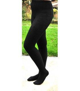 Frau schwarz, cremefarbener Merinowolle Leggings, Spitze