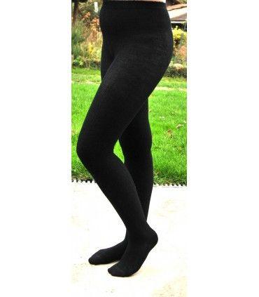 Collant femme chaud noir en laine douce