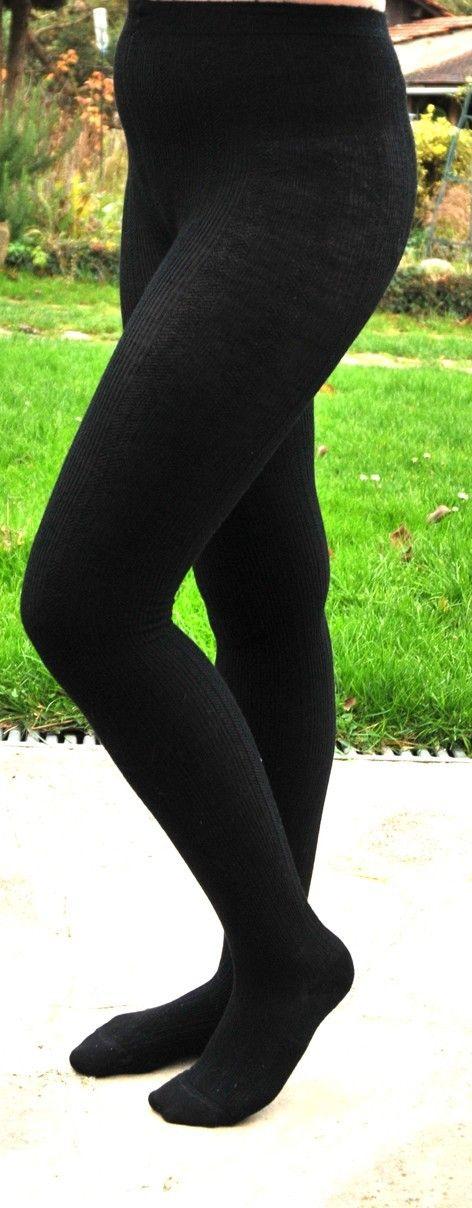 ad255c35c0b Collant femme laine douce noire Sous vêtement thermique chaud et doux