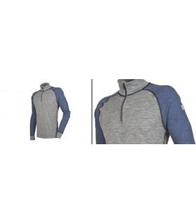 Polo homme pure laine mérinos col protecteur bleu gris ou marine